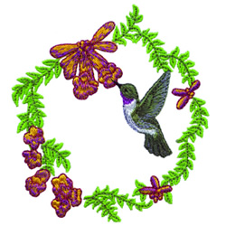 Hummingbird Wreath embroidery design