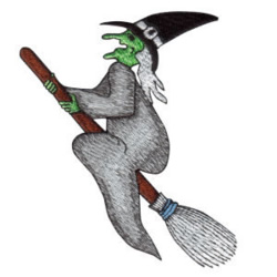 Broomstick Witch embroidery design
