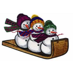 Sleigh Riding Snowmen embroidery design