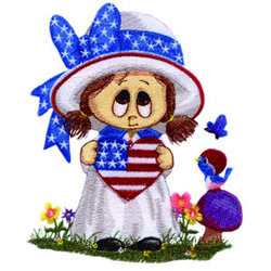 Patriotic Little Miss embroidery design