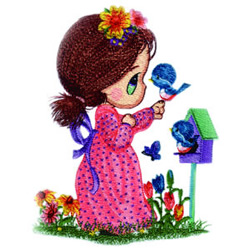 Little Miss with Birds embroidery design