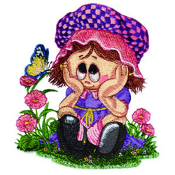 Little Miss in the Garden embroidery design