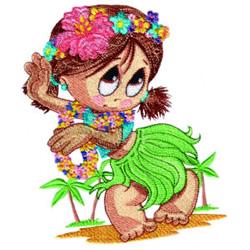 Little Miss Hula Dancer embroidery design