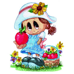 Little Miss with Apple embroidery design