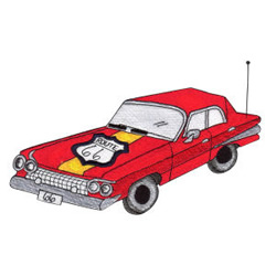 Route 66 Car embroidery design