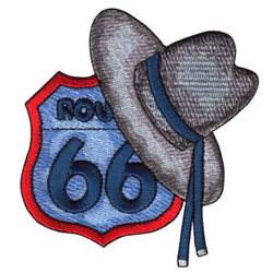Route 66 Sign and Hat embroidery design