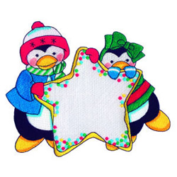 Penguin Star Cookie embroidery design