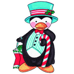 Holiday Party Penguin embroidery design