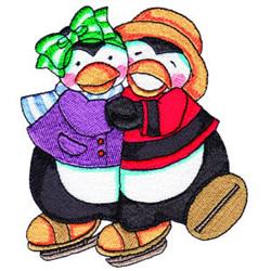 Penguin Skaters embroidery design