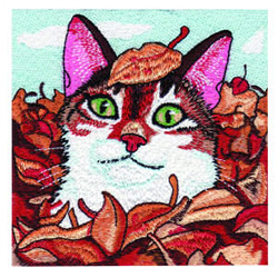 Kitty in Leaves embroidery design