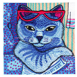 Reading Kitty embroidery design