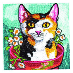 Garden Kitty embroidery design