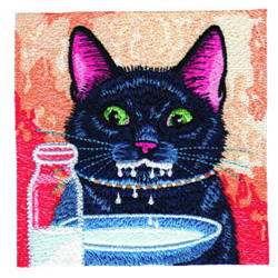Kitty With Milk embroidery design