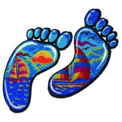 Seaside Footprints embroidery design