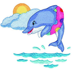 Dolphin Trick embroidery design