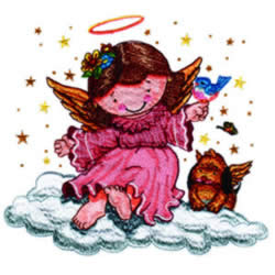 Angel with Animal Friends embroidery design