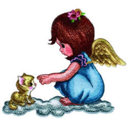 Angel and Kitty embroidery design