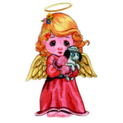 Angel with Puppy embroidery design