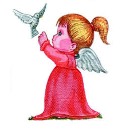 Angel with Dove embroidery design