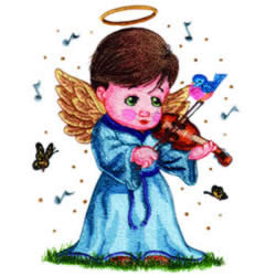 Angel Playing Violin embroidery design
