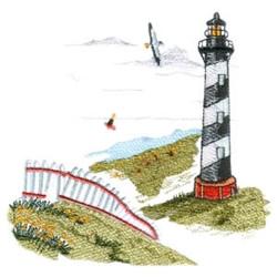 Lighthouse Beach embroidery design