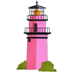 Pink Lighthouse embroidery design