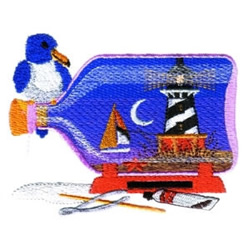 Lighthouse in a Bottle embroidery design