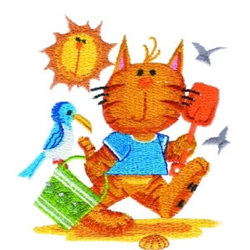 Beach Kitty embroidery design