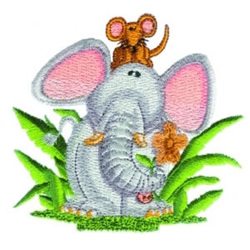 Elephant & Mouse embroidery design