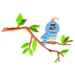 perched Bluebird embroidery design