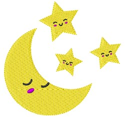 Stars & Moon embroidery design