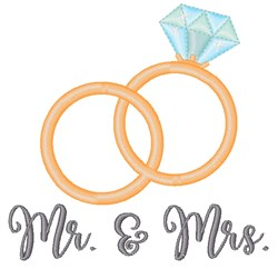 Mr & Mrs Rings embroidery design