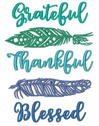 Grateful, Thankful, Blessed embroidery design
