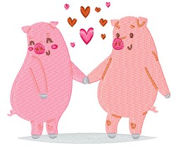 Valentines Day Pigs embroidery design