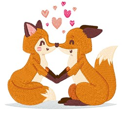 Valentines Day Foxes embroidery design