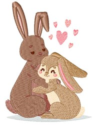 Valentines Day Rabbits embroidery design