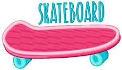 Pink Skateboard embroidery design