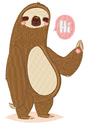 Sloth Waving Hello embroidery design