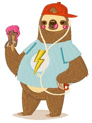Cool Dude Sloth embroidery design