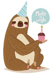 Happy Birthday Sloth embroidery design