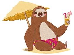 Tropical Beach Sloth embroidery design