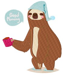 Good Morning Sloth embroidery design