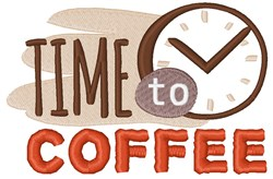 Time To Coffee embroidery design