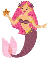 Mauve Mermaid embroidery design