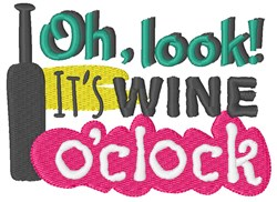 Its Wine OClock embroidery design