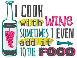 Cook With Wine embroidery design