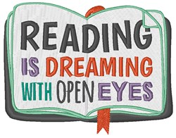 Reading Is Dreaming embroidery design