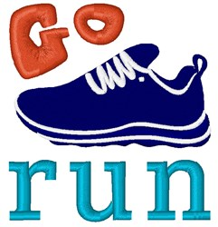 Go Run embroidery design