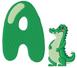 A For Alligator embroidery design