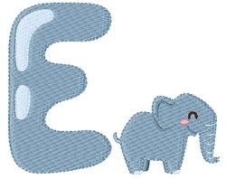 E For Elephant embroidery design